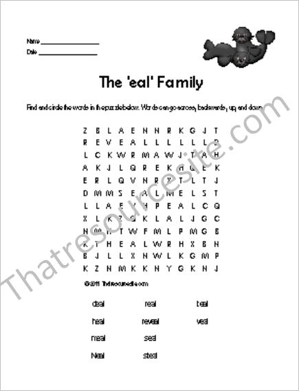 EAL Word Family Word Search Featuring Seals