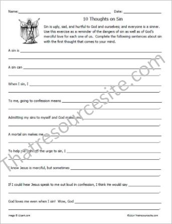 10 Thoughts on Sin Worksheet