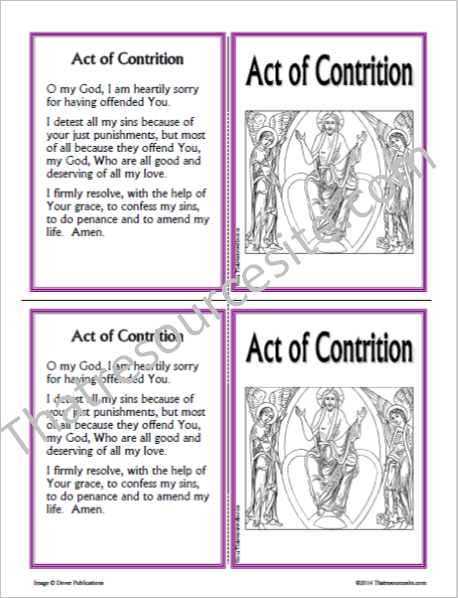 Act of Contrition Prayer Learning Card