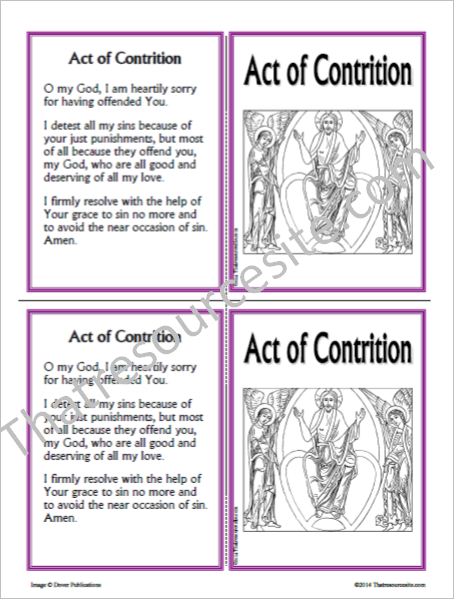Act of Contrition Prayer Learning Card Version 2