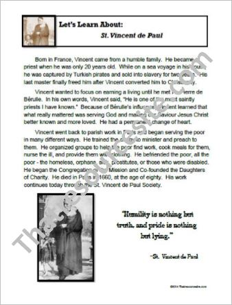 St. Vincent de Paul Biography Sheet