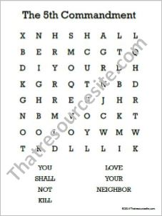 Fifth Commandment Word Search (Large Print)