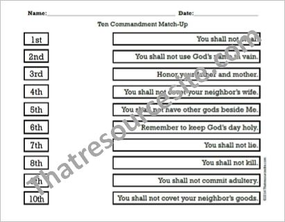 Worksheet Ten Commandments Worksheets ten commandments that resource site part 4 match up worksheet large print