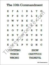 10th Commandment Word Search Worksheet