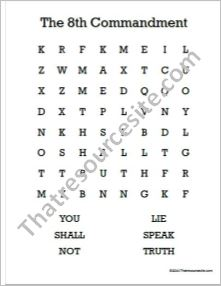 Eighth Commandment Word Search Worksheet (Large Print)