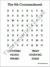 Ninth Commandment Word Search Worksheet