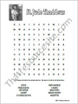 St. Jude Thaddeus Word Search Worksheet