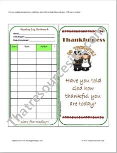 Thankfulness Reading Log Bookmark