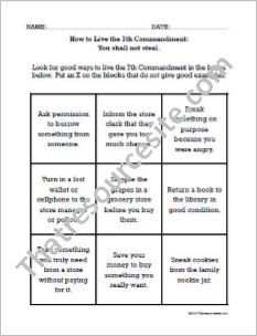 How to Live the Seventh Commandment Worksheet (Large Print)