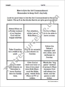 How to Live the Third Commandment Worksheet (Large Print)