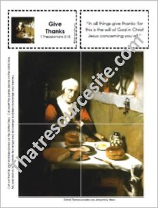 Picture Puzzle of Giving Thanks Before a Meal – 1 Thessalonians 5:18