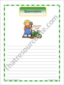 Responsibility Theme Writing Paper
