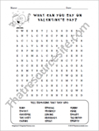 What to Say on Valentine's Day Word Search