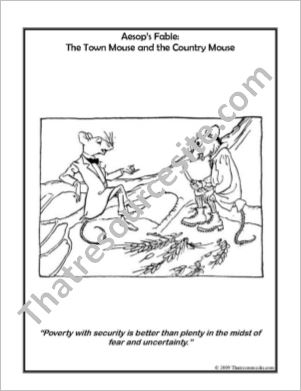 Aesop Art Coloring Sheet – The Town Mouse and the Country Mouse