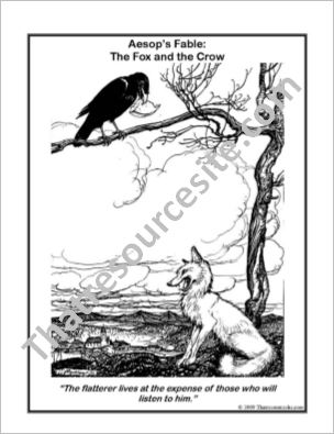 Aesop Art Coloring Page – The Fox and the Crow