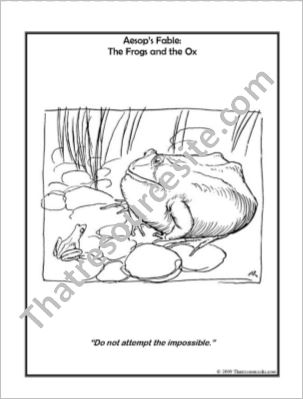 Aesop Art Coloring Sheet  – The Frogs and the Ox