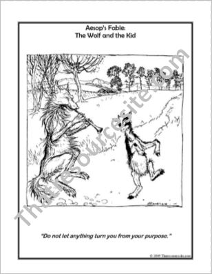 Aesop Art Coloring Sheet – The Wolf and the Kid