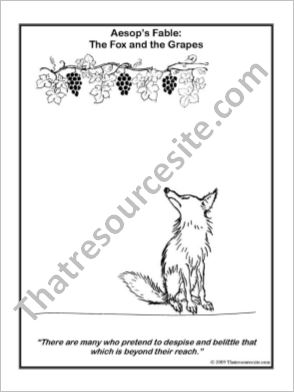 Aesop Art Coloring Page – The Fox and the Grapes
