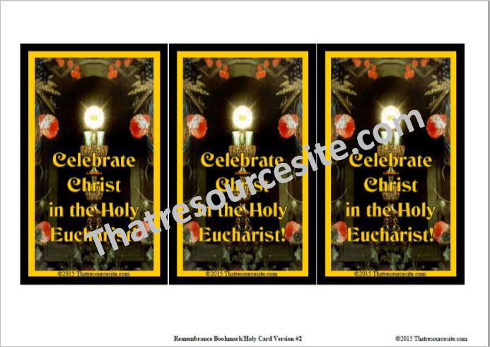 Celebrate Christ in the Holy Eucharist Bookmark