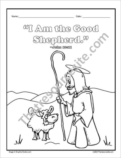 Jesus The Good Shepherd Coloring Sheet
