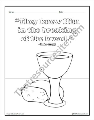 The Breaking of the Bread Coloring Sheet