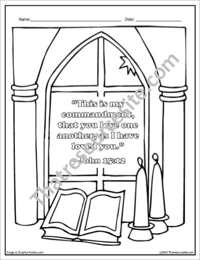 The Command to Love One Another Coloring Sheet