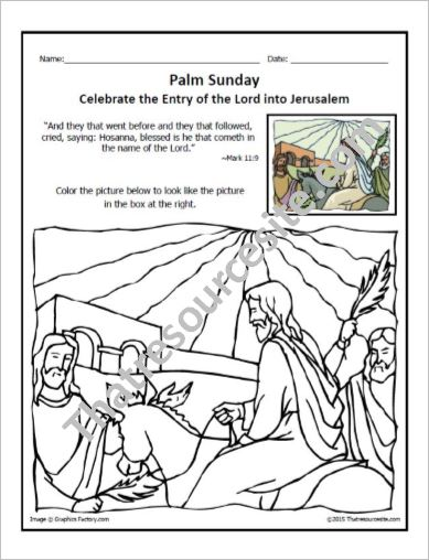 Copy It Coloring Sheet of Palm Sunday