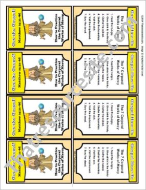 Get the Gospel! Trading Card on How to Practice the Corporal Works of Mercy