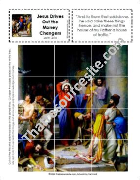 Picture Puzzle of Christ Driving Out the Money Changers