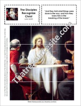Picture Puzzle of the Disciples Recognizing Christ in the Breaking of the Bread
