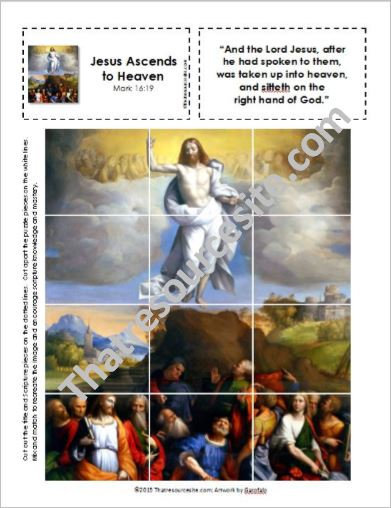 Picture Puzzle of the Ascension of the Lord (Mark 16:19)