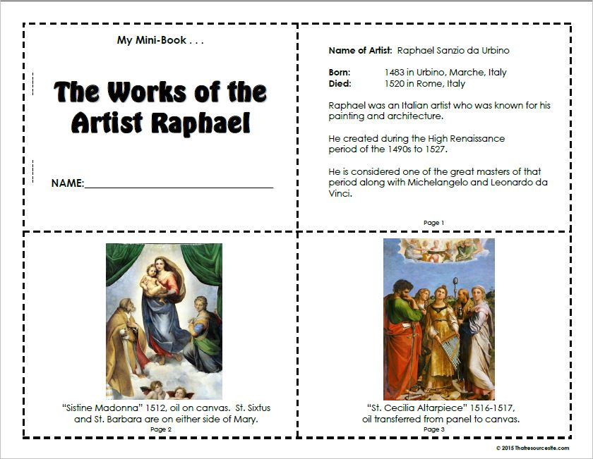 Works of art by the artist Raphael Mini-Book