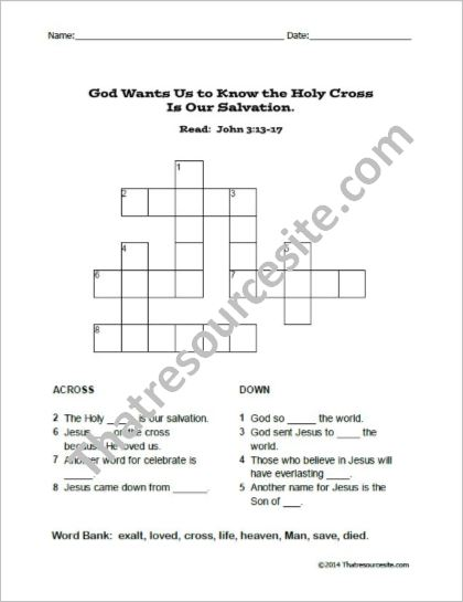 The Cross Is Our Salvation Crossword Puzzle