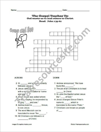 God Wants Us To Lead Others Christ Crossword Puzzle