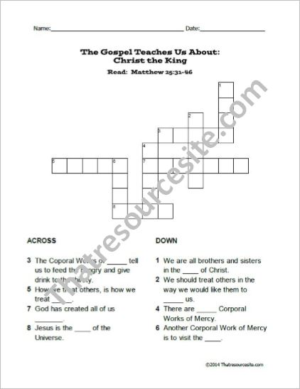 Christ the King Crossword Puzzle