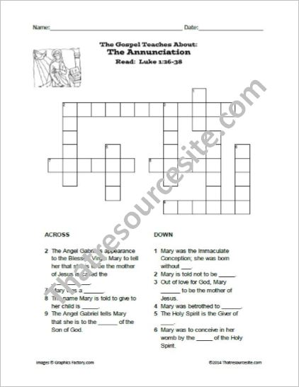 The Annunciation Crossword Puzzle