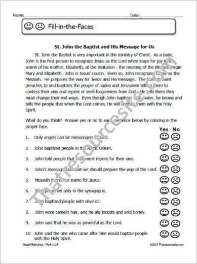 St. John the Baptist and His Message Fill-In the Faces Worksheet