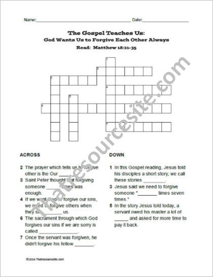 God Wants Us to Forgive Others Crossword Puzzle