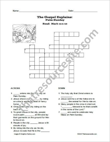 Palm Sunday Crossword Puzzle