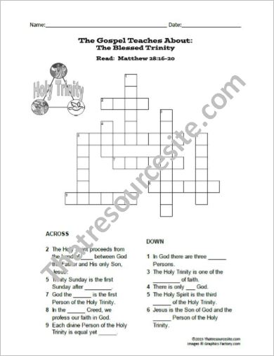 The Blessed Trinity Crossword Puzzle