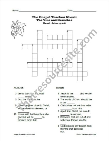 The Vine and Branches Crossword Puzzle
