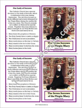 Seven Sorrows of the Blessed Virgin Mary Learning Card