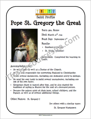 Pope St. Gregory the Great Saint Profile Sheet
