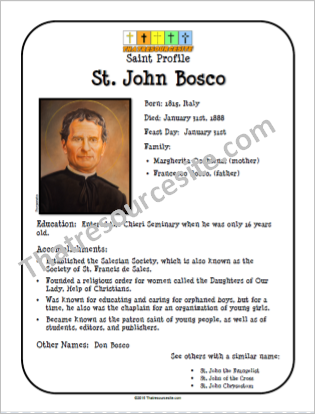 St. John Bosco Saint Profile Sheet