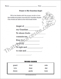 Prayer to the Guardian Angel Fill-In the Blanks Worksheet
