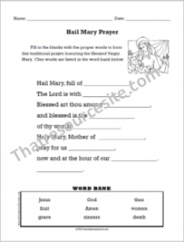 Hail Mary Prayer Fill-In the Blanks Worksheet