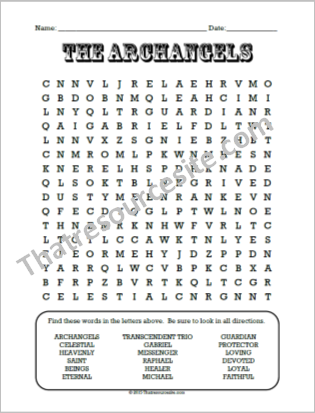 The Archangels Word Search Puzzle