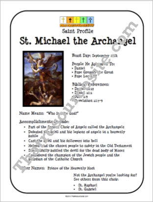 St. Michael the Archangel Saint Profile Sheet