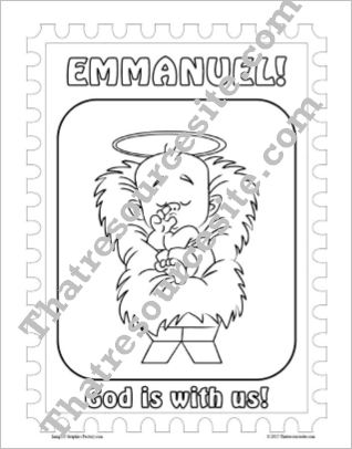 Emmanuel Christmas Stamp Coloring Sheet