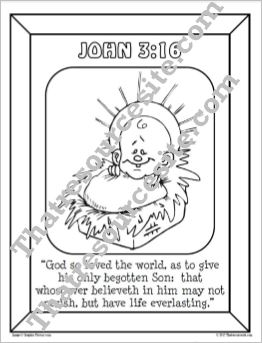 John 3:16 Christmas Coloring Sheet